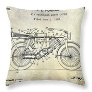 1928 Motorcycle Patent Drawing Throw Pillow