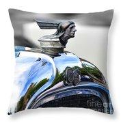 1928 Pontiac Hood Ornament And Badge Throw Pillow
