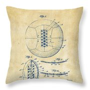 1928 Soccer Ball Lacing Patent Artwork - Vintage Throw Pillow