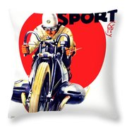 1929 - Bmw Motorcycle Poster - Color Throw Pillow