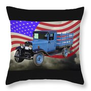 1929 Blue Chevy Truck And American Flag Throw Pillow