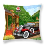 1929 Cadillac Dual Cowl Phaeton And Pegasus Throw Pillow
