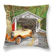 1929 Chrysler 65 Covered Bridge Throw Pillow