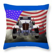 1929 Cord 6-29 Cabriolet Antique Car With American Flag Throw Pillow