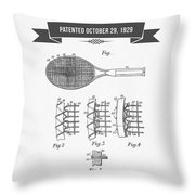 1929 Tennis Racket Patent Drawing - Retro Gray Throw Pillow