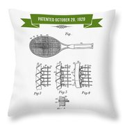 1929 Tennis Racket Patent Drawing - Retro Green Throw Pillow