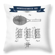 1929 Tennis Racket Patent Drawing - Retro Navy Blue Throw Pillow