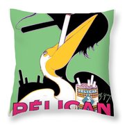 1930 - Pelican Cigarettes French Advertisement Poster - Color Throw Pillow