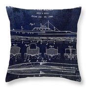 1930 Ship's Hull Patent Drawing Blue Throw Pillow