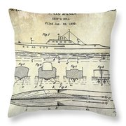 1930 Ship's Hull Patent Drawing Throw Pillow
