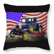 1930 Model A Ford Pickup Truck And American Flag Throw Pillow