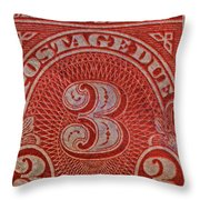 1930 Three Cents Postage Due Stamp Throw Pillow