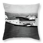 1930s 1940s Pan American Clipper Flying Throw Pillow by Vintage Images