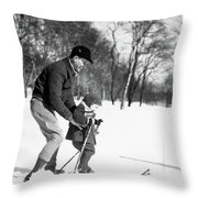 1930s Father & Son Man Wearing Jacket Throw Pillow