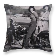 1930's Indian Motorcycle Mama Throw Pillow