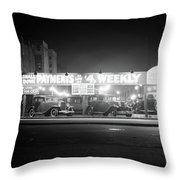 1930s New And Used Car Lot At Night Throw Pillow