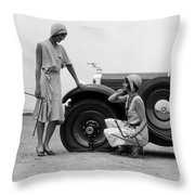 1930s Two Women Confront An Automobile Throw Pillow