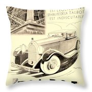 1931 - Talbot French Automobile Advertisement Throw Pillow