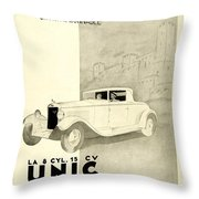 1931 - Unic 8 French Automobile Advertisement Throw Pillow