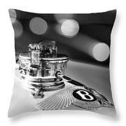 1931 Bentley 4.5 Liter Supercharged Le Mans Hood Emblem -1122bw Throw Pillow
