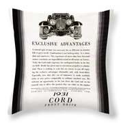 1931 Cord Cabriolet L 29 Vintage Ad Throw Pillow