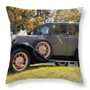 1931 Ford Sedan On Hill At Greenfield Village In Dearborn Michigan Throw Pillow