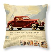 1933 - Buick Coupe Advertisement - Color Throw Pillow