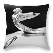 1933 Plymouth Hood Ornament -0121bw Throw Pillow