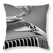 1933 Pontiac Hood Ornament - Emblem -0385bw Throw Pillow