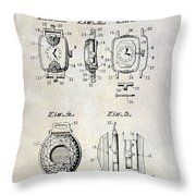 1933 Watch Case Patent Drawing  Throw Pillow