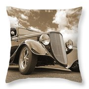 1934 Ford Coupe In Sepia Throw Pillow