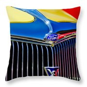 1934 Ford Deluxe Coupe Grille Emblems Throw Pillow