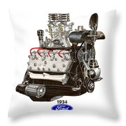 1934 Ford Flathead V 8  Throw Pillow