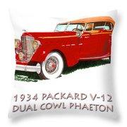 1934 Packard V-12 Dual Cowl Phaeton Throw Pillow