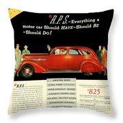 1935 - Nash Aeroform Automobile Advertisement - Color Throw Pillow