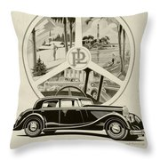 1935 - Panhard Panoramique French Automobile Advertisement Throw Pillow