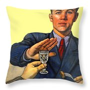 1935 - Soviet Union Anti Alcohol Propaganda Poster - Color Throw Pillow