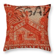 1935 Carved Maori House New Zealand Stamp Throw Pillow