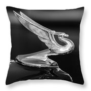 1935 Chevrolet Sedan Hood Ornament -479bw Throw Pillow