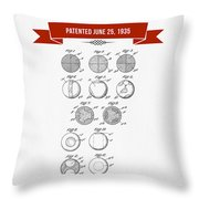 1935 India Rubber Ball Patent Drawing - Retro Red Throw Pillow