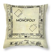 1935 Monopoly Patent Drawing Throw Pillow