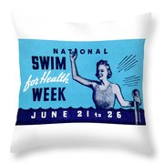 1935 Swim For Health Poster Throw Pillow