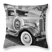 1936 Chevrolet Pick Up Truck Painted Bw   Throw Pillow