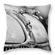 1936 Ford Cabriolet Hood Ornament - Emblem Throw Pillow