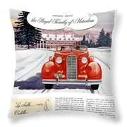1936 - Lasalle Convertible Automobile Advertisement - Color Throw Pillow