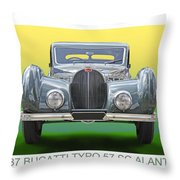 1937 Bugatti 57 S C Atalante Throw Pillow