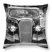 1937 Chevrolet Custom Convertible Bw Throw Pillow