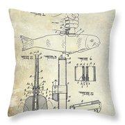 1937 Fishing Knife Patent Throw Pillow