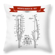 1937 Game Device Patent Drawing - Retro Red Throw Pillow