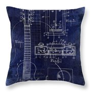 1937 Gibson Electric Guitar Patent Drawing Blue Throw Pillow